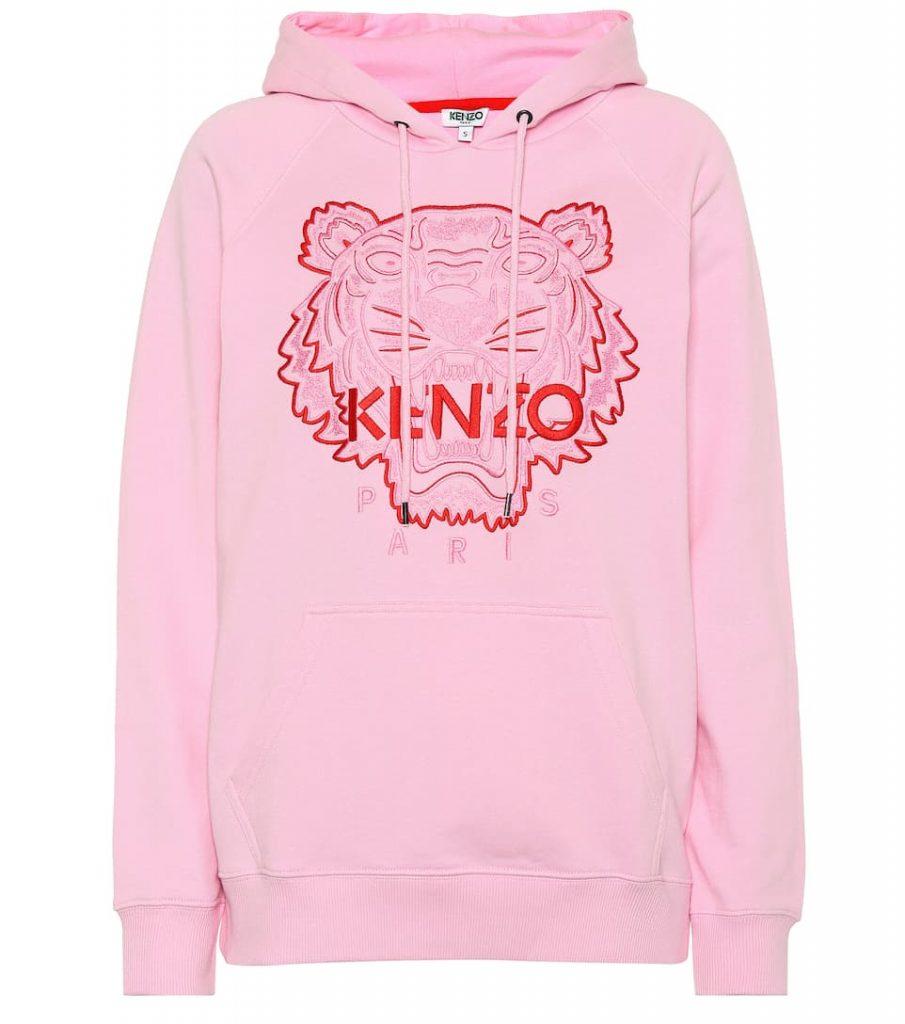 Rosa Hoodie von Kenzo mit Tiger Stick in pink, vorne.
