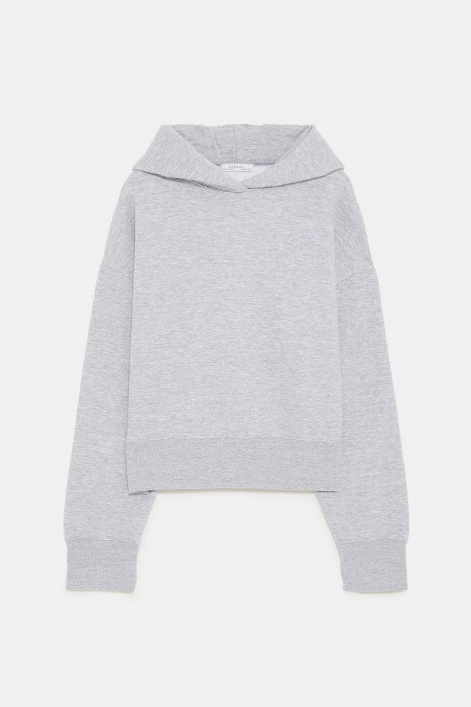 Cropped Hoodie in Grau von Zara